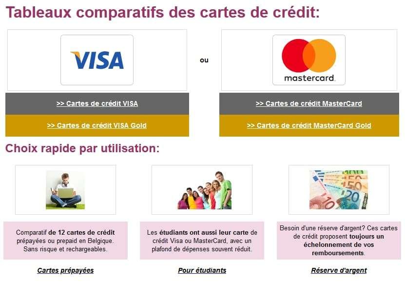 Les différents tableaux de comparaison proposés par Comparatif-carte-de-credit