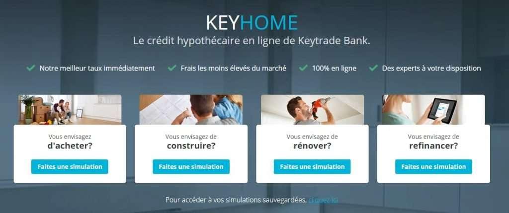 Keyhome le crédit hypothécaire en ligne de Keytrade bank - les 4 affectations possibles de ce crédit