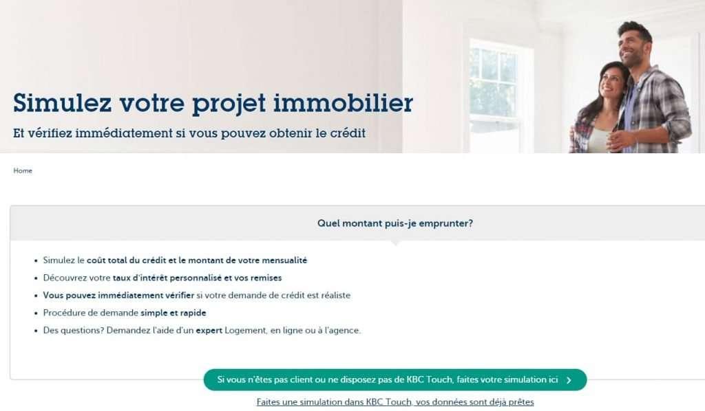 Simulez votre projet immobilier sur le site de KBC banque