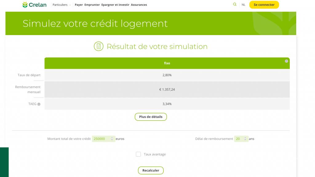simulation de crédit hypothécaire sur le site de Crelan