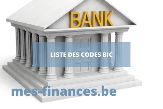 Liste des codes BIC bancaire