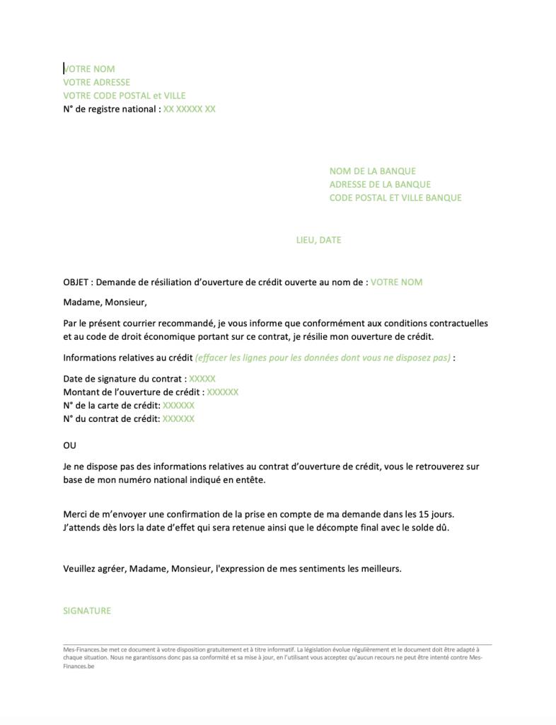 Resilier Un Credit Modele De Lettre De Resiliation De Credit