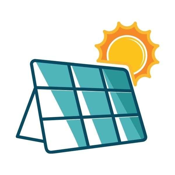 panneaux solaires avec le prêt vert